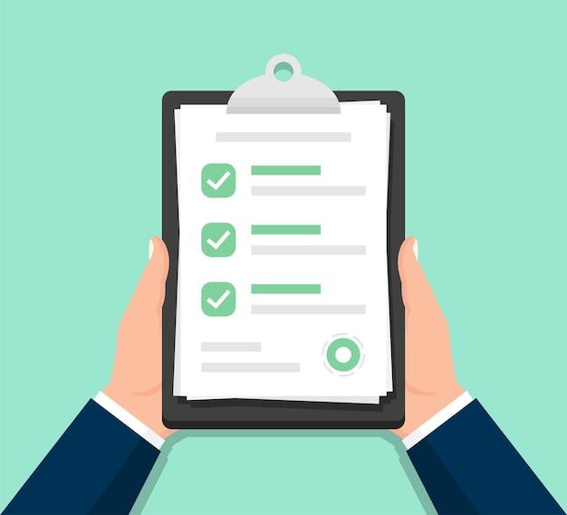 Businessman hands holding clipboard checklist in a flat design