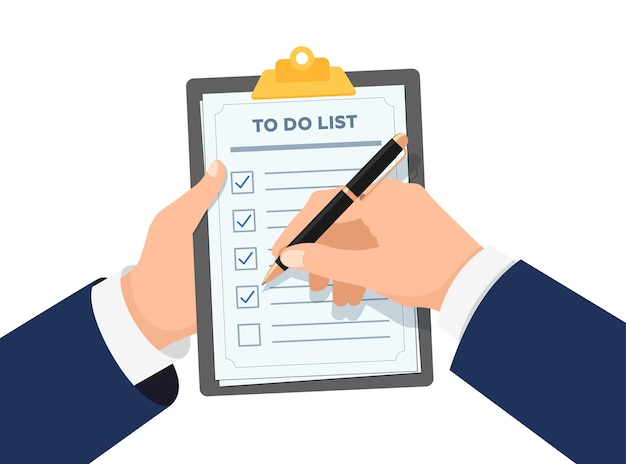 Businessman hands holding clipboard with to do check list business man with pen marked checklist on