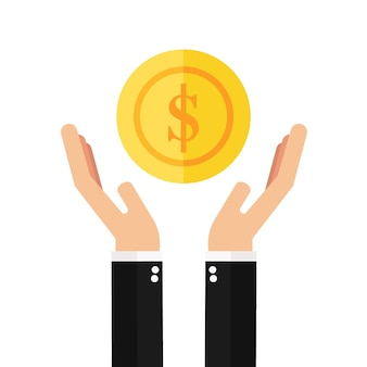 Businessman hands holding coin