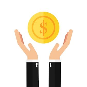 コインを持っているビジネスマンの手 Premiumベクター