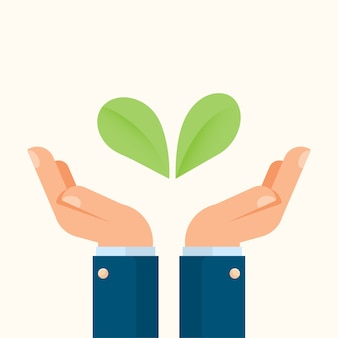 Businessman hands holding plants
