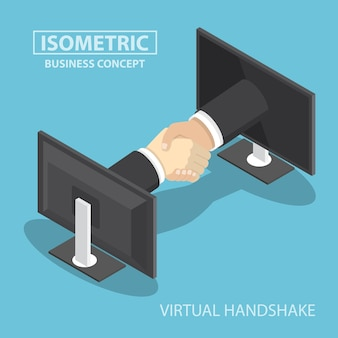 Businessman hands reaching out from monitor screen