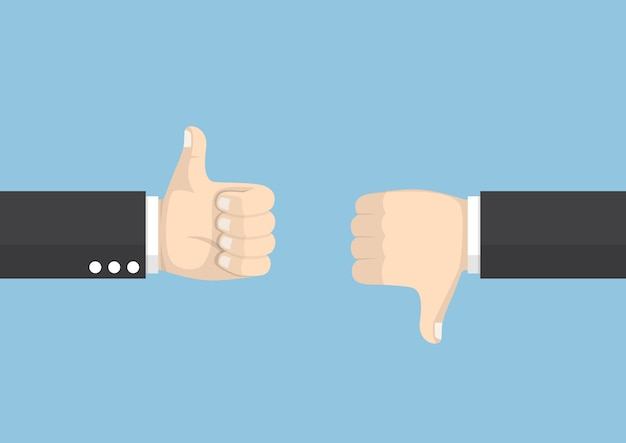 Businessman hands showing different gesture thumb up and thumb down, voting and feedback concept