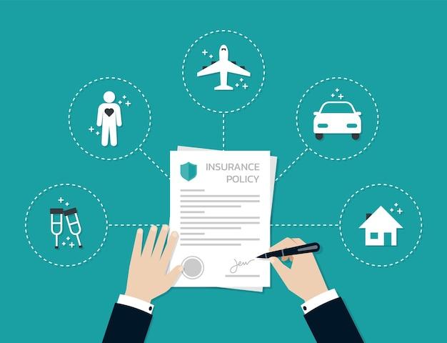 사업가 손 서명 및 보험 정책 양식 문서, 비즈니스 개념에 스탬프