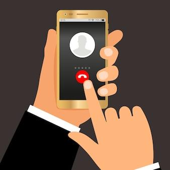 사업가 손 전화. 전화 걸기 또는 스마트 폰 대화 개념 프리미엄 벡터