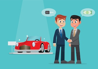 Businessman handshake deal for selling a car with cash.