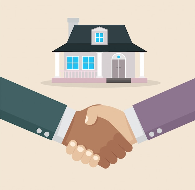 Businessman handshake deal purchase home.