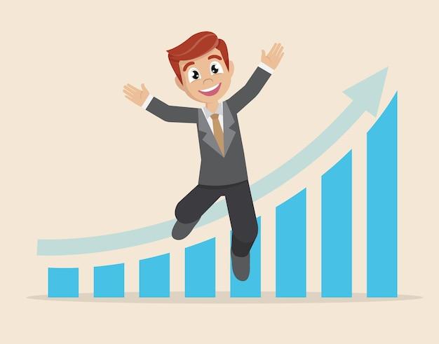 Businessman happy arrow graph business success.