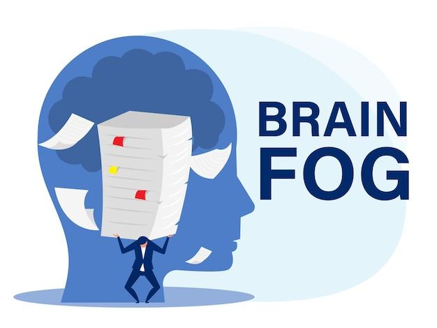 Бизнесмен тяжелая работа со многими бумагами на голове как вектор концепции кризиса тумана мозга беспокойства