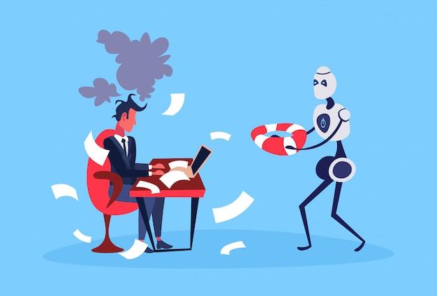 Бизнесмен трудолюбивый процесс робот держать спасательный круг