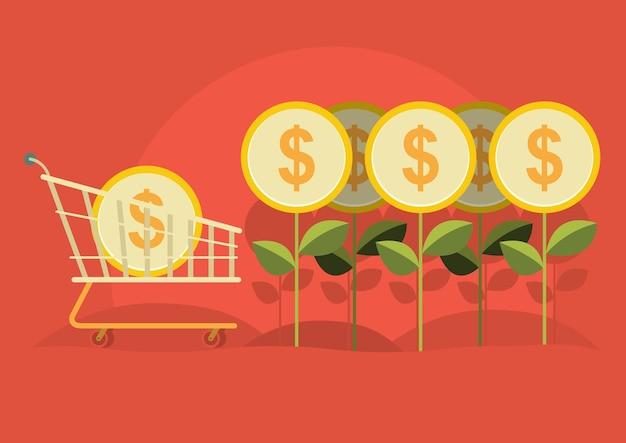 ビジネスマンは木から金を収穫