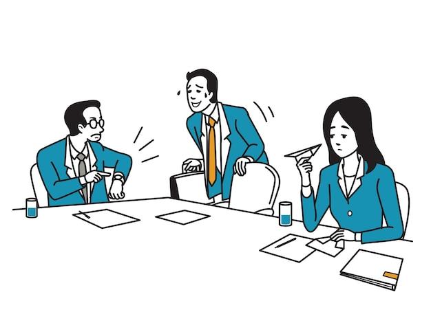 ビジネスマンは、マネージャーと同僚が待っているように遅く会議に来ています。