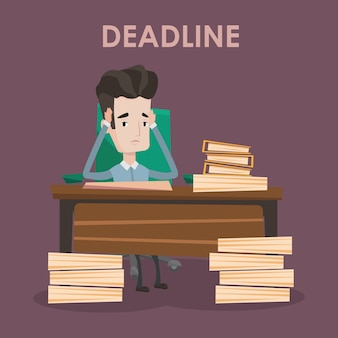 Businessman having problem with deadline.