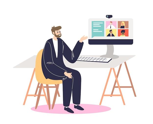Бизнесмен, имеющий видеовстречу с коллегами или партнерами в интернете. деловой человек во время конференц-связи в офисе, сидя за настольным компьютером.