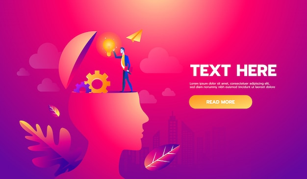 Businessman on head with brain idea. illustration file. text and texture in separate layers and copy space.