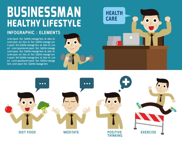 Businessman healthy lifestyle illustration