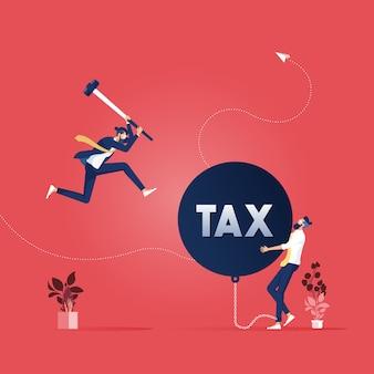 사업가는 세금이라는 단어로 거대한 난파 공을 파괴하는 다른 사람들을 돕습니다.