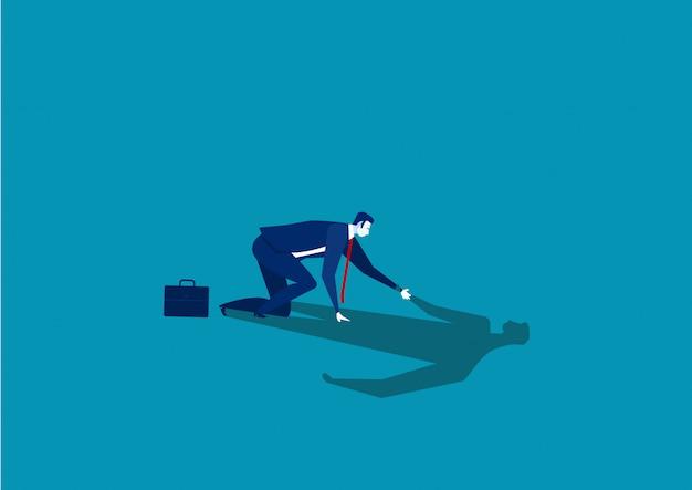 Бизнесмен помогая его собственной тени встать вверх вектор терпеть неудачу концепции.