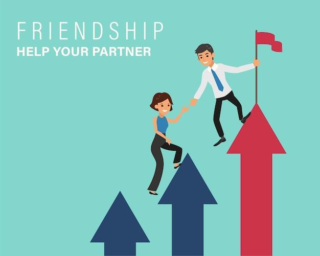 彼のパートナーが矢のはしごを登るのを手伝っているビジネスマン。ビジネスコラボレーションとチームワークの概念図。