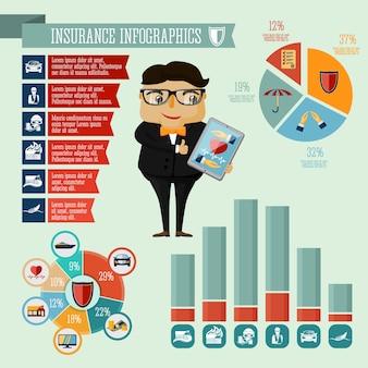 ビジネスマン、ヒップスター、ボーイズ、保険会社、エージェント、infographic、プレゼンテーション、デザイン、要素、アイコン、グラフ、ベクトル、イラスト 無料ベクター