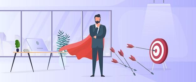 ビジネスマンは目標を達成します。ターゲットの中心を矢印で叩きます。赤いマントを持つビジネスマン。オフィス。ビジネスにおけるモチベーションと成果の概念。ベクター。