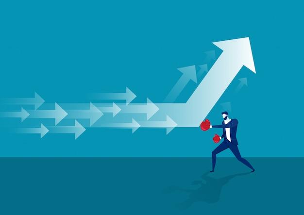 Businessman  hitting a decline arrow graph  vector