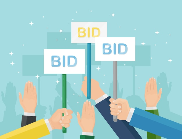Businessman hold auction paddle in hand. bidding, auction competition concept. people rise signs with bid inscriptions. business trade process