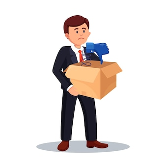 Businessman hold cardboard box with thumb down in it. social media. bad opinion, dislike, disapproval. testimonials, feedback, customer review concept
