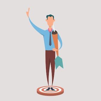 사업가 다트를 누르고 다트 판에 서 서. 타겟팅 및 고객의 비즈니스 개념.