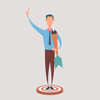 Businessman hold dart and stand on dartboard. business concept of targeting and customer.