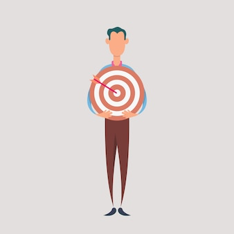 Businessman hold dartboard. business concept of targeting and customer.