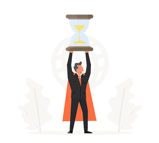 実業家は彼の頭の上に砂時計を保持します。ビジネス時間管理の図。成功、チャンピオン、勝利、砂時計