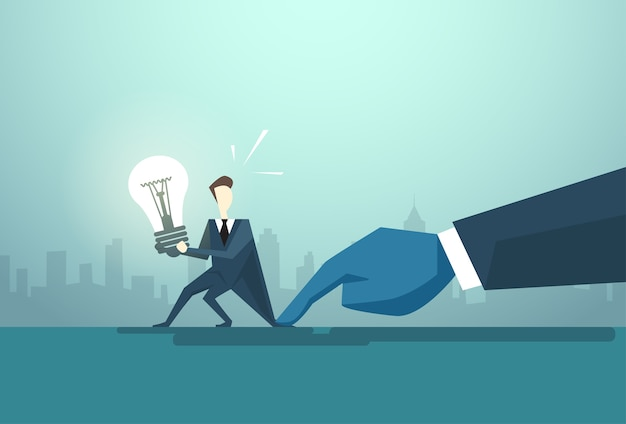 Businessman hold light bulb problem