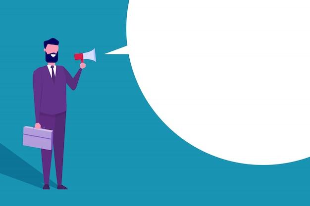 Businessman hold loud speaker or megaphone.