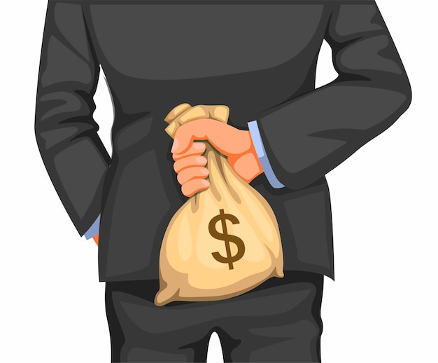 ビジネスマンは後ろにお金の袋を保持します。白い背景の上の漫画イラストのビジネスファイナンスと破損のメタファーコンセプト