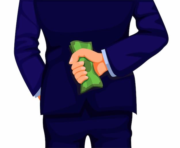 実業家は、白い背景の上の背面図の概念図に戻ってお金を保持します。
