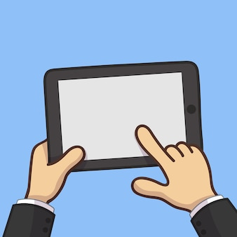Businessman hold tablet and pointing