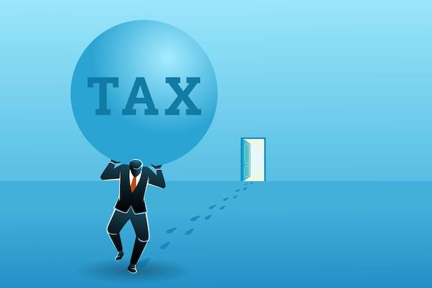 Бизнесмен держит большую сумку налогов от открытой двери