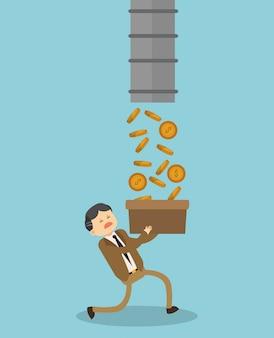 Бизнесмен, проведение коробки с монетами
