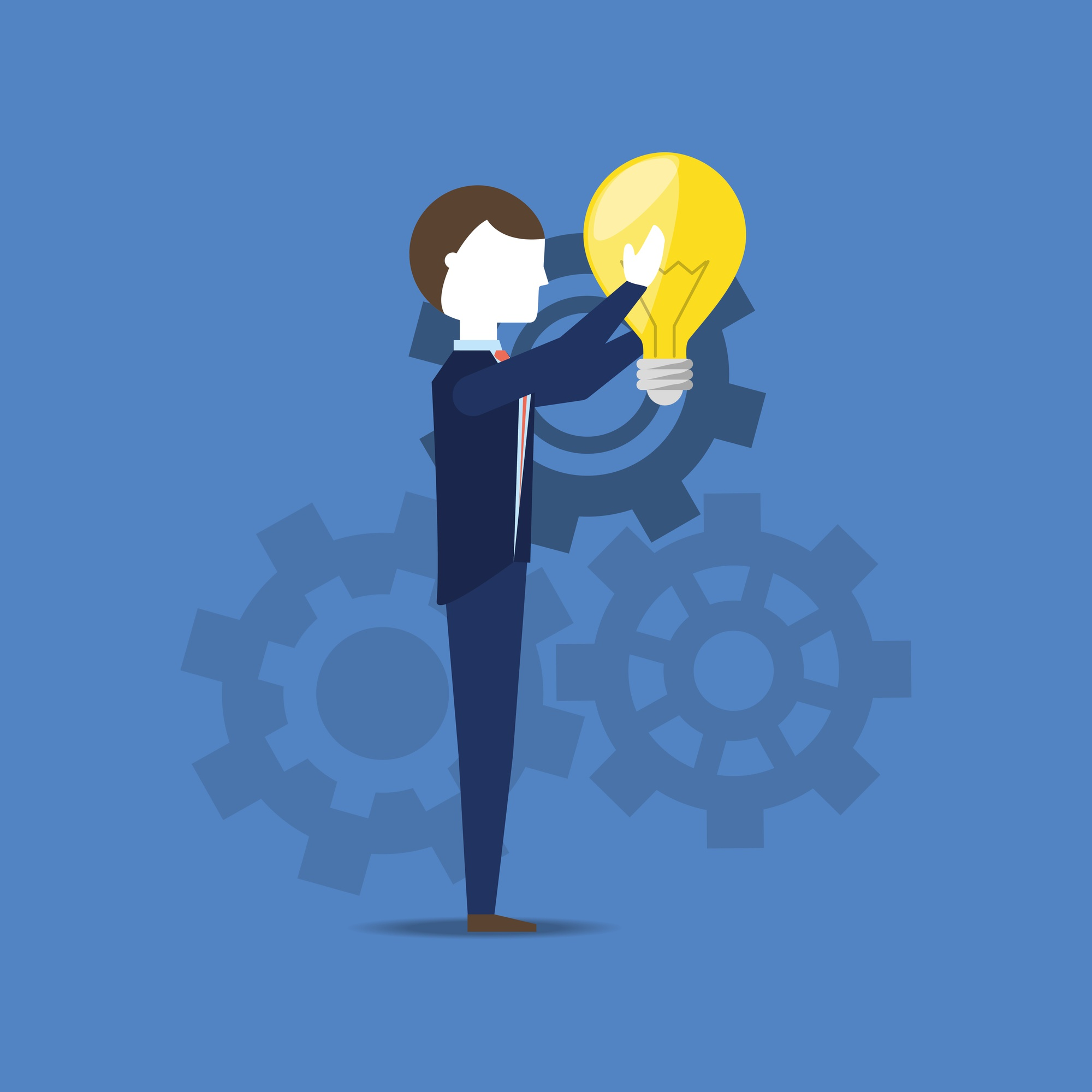 Businessman holding a  bulb over blue background, colorful design. vector illustration