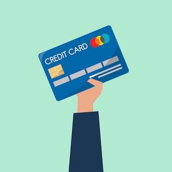 Бизнесмен, проведение кредитной карты