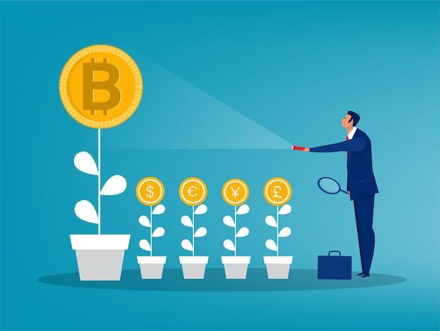기호 그림 위로 bitcoin 가격 화살표를 밝히는 손전등을 들고 사업가