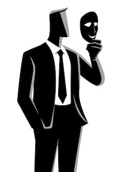 Бизнесмен держит маску перед его лицом