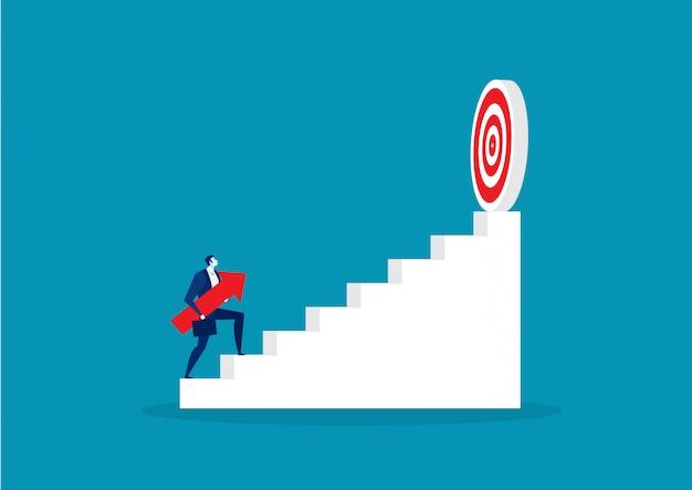 Бизнесмен холдинг стрелка перейти к целевой концепции успеха вектор