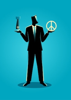 Businessman holding an atomic bomb and a peace symbol