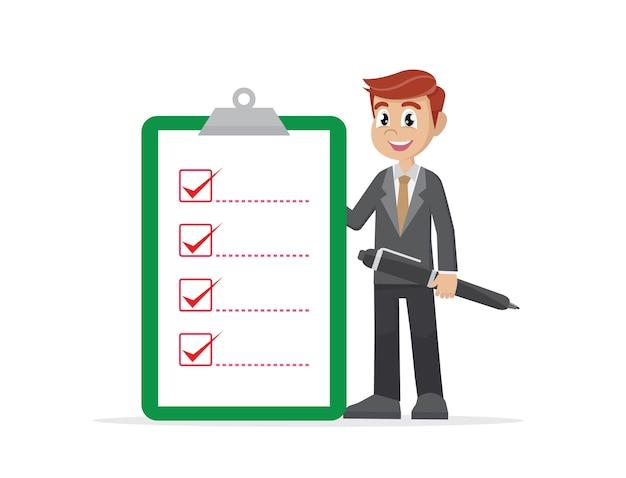 Businessman holding big checklist.