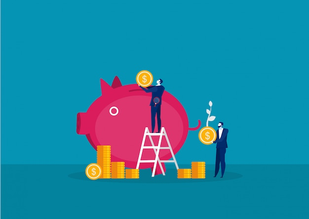 Businessman holding big coin for save money with pig growth investment concept