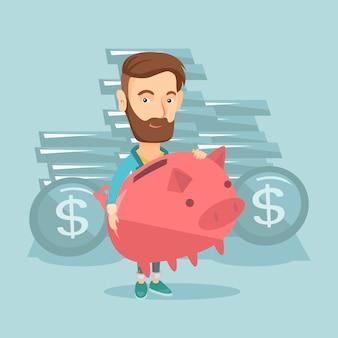 Businessman holding big piggy bank.