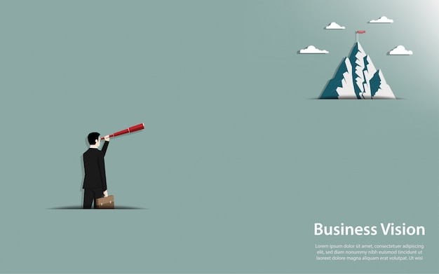 Businessman holding a binocular look at go to the mountain with success flag