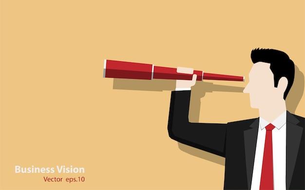 Businessman holding binoculars on color background